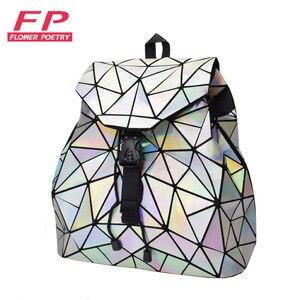 Image 1 - Mochila De mujer de moda, con cordón ajustable mochilas femeninas geométricas para chicas adolescentes Bagpack holográfica damas bao bolso escolar Sac