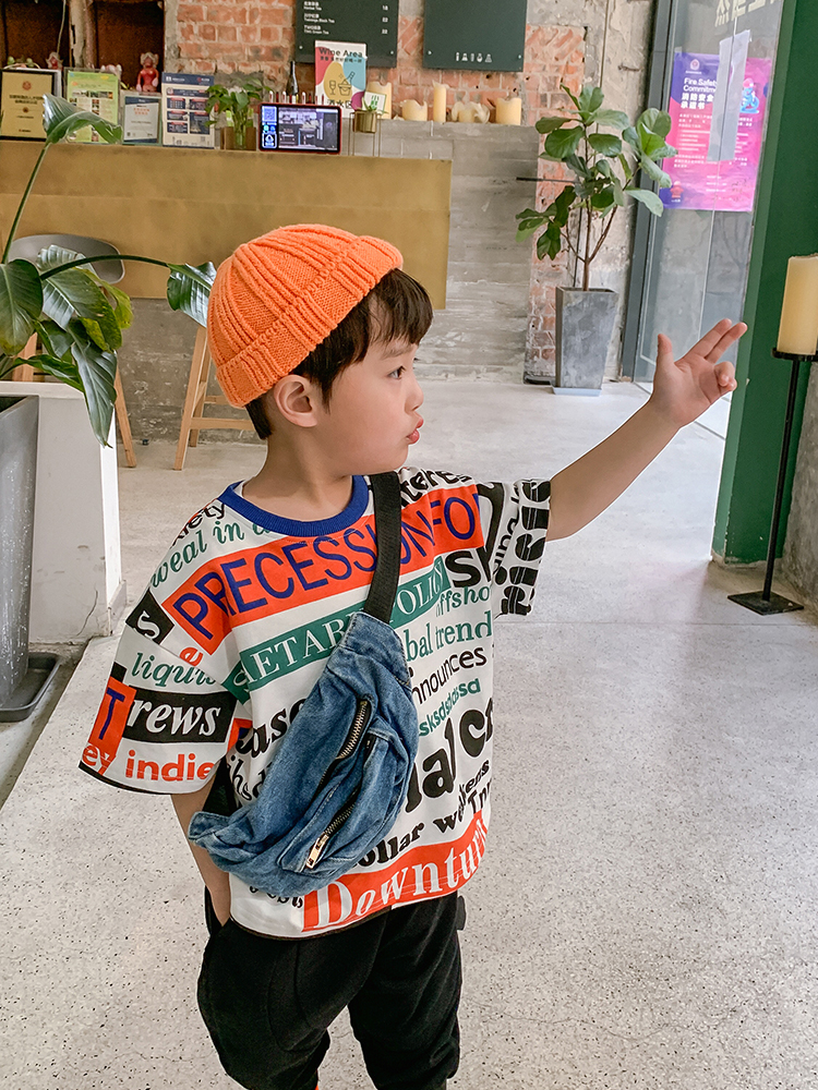 Short-Sleeved Clothes T-shirt Printing Fashion Boy Cotton Half-Sleeved Shirt Small Western Style Children's Clothing Baby Summer