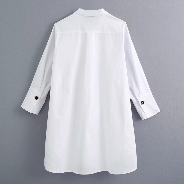 New 2020 women simply style buttons decoration casual white poplin blouse office lady side split shirts chic blusas tops LS6562 2