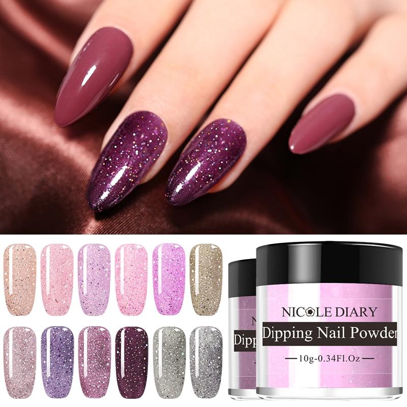 NICOLE DIARY  Dipping Dip Nail Powder Sparkling Glitter Sequins Dip Glitter No UV Lamp Cure Nail Art Decoration