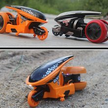 Kids RC Motorcycle Toys 1/12 Scale Cool Stunt Remote Control Deformation High Speed 2.4G Drift Light Concept Flip Car