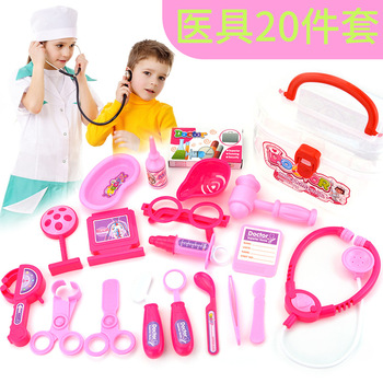 Girl with toy stethoscope Children's Medical Simulation medicine box Doctor toy play house toys wholesale kids toys doctor set baby suitcases medical kit cosplay dentist nurse simulation medicine box with doll costume stethoscope gift