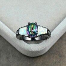 цена Charm Female Rainbow Oval Stone Ring Vintage Black Gold Wedding Rings For Women Promise White Fire Opal Engagement Ring онлайн в 2017 году