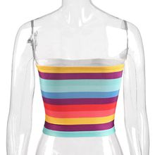 Women Girls Sexy Off Shoulder Strapless Crop Tube Top Summer Rainbow Stripes Print Stretchy Chest Wrap Festivals Party Cami Vest