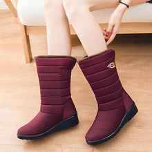 Waterproof Womens Winter Boots 2019 Rain For Women Shoes Female Footwear Warm Fur Snow Red Women's 35-40