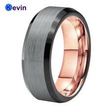 Мужское вольфрамовое обручальное кольцо черное розовое золото