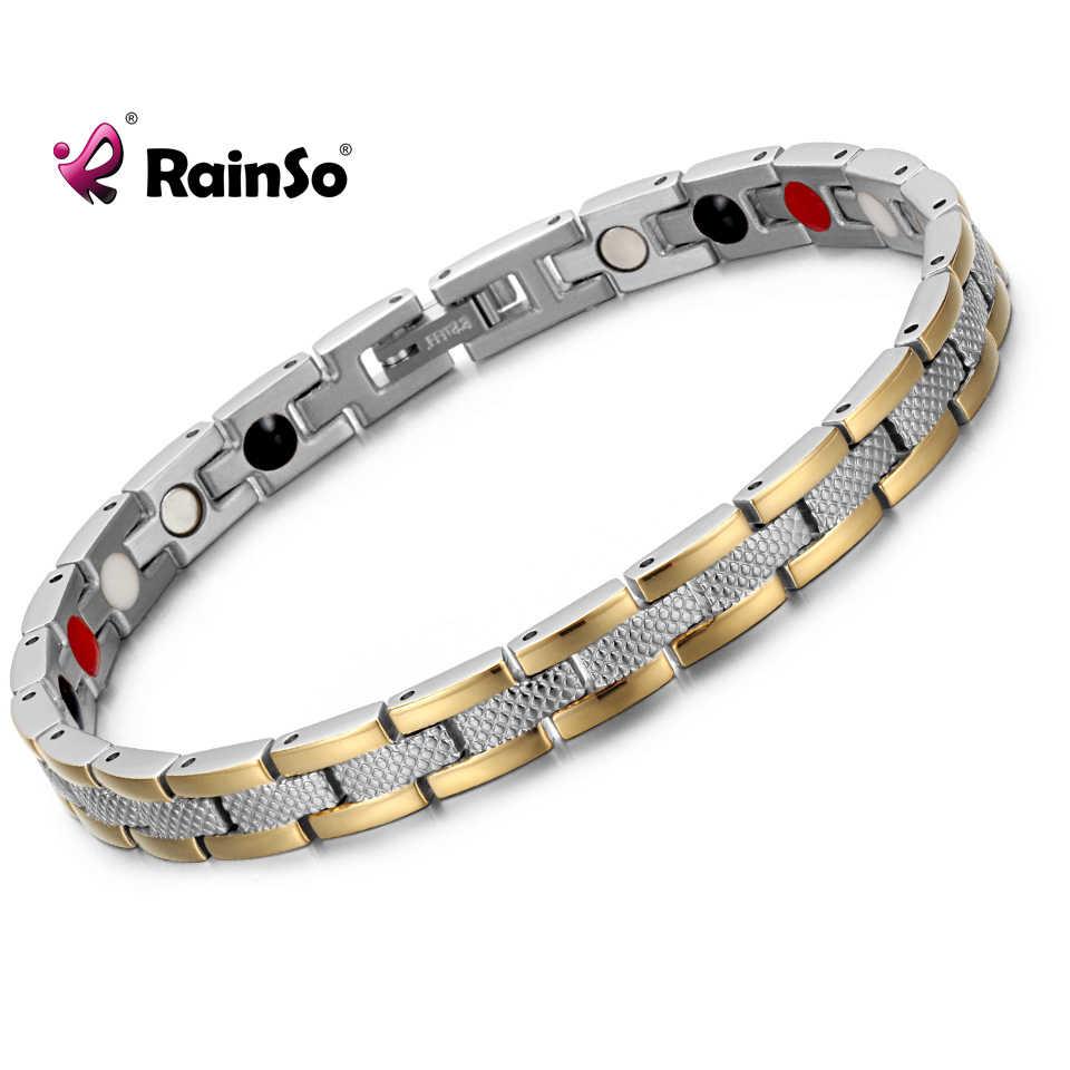 RainSo 316L Acero inoxidable cadena de eslabones de oro madera de abeto magnética 4 en 1 pulsera de la amistad para las mujeres joyería de estilo de moda 2019