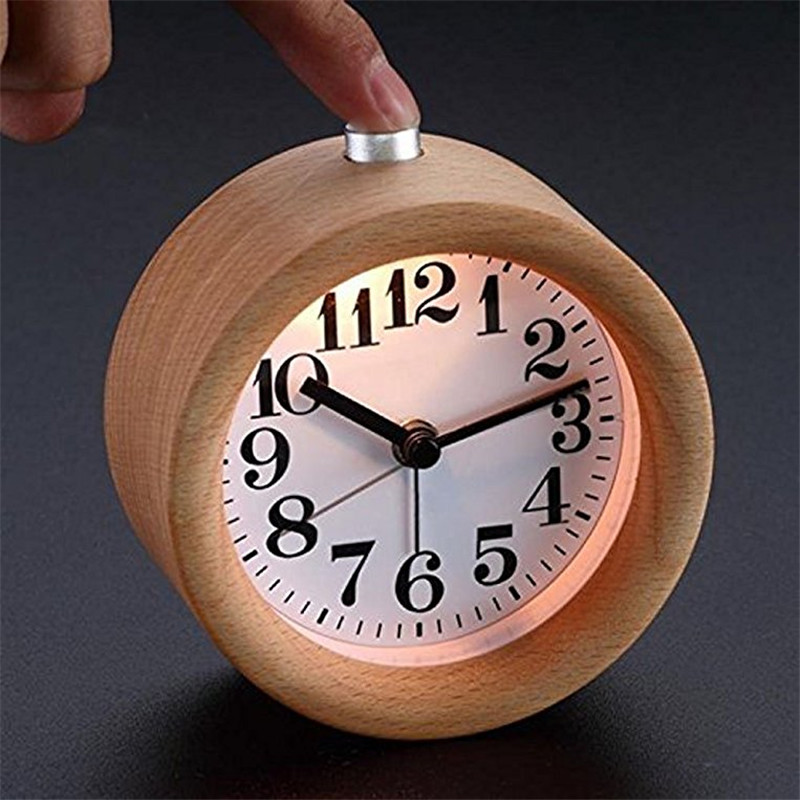 Handmade Classic Small Round Wood Silent Desk Alarm Clock With Desk Lamp Night Lights For Home