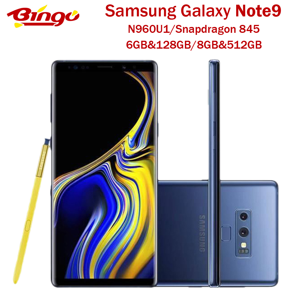 Разблокированный телефон Samsung Galaxy Note9 Note 9 N960U1, 6 ГБ/8 ГБ ОЗУ, экран 845 дюйма, Восьмиядерный процессор Snapdragon 6,4, двойная камера 12 Мп, NFC, 128 ГБ/512 ГБ
