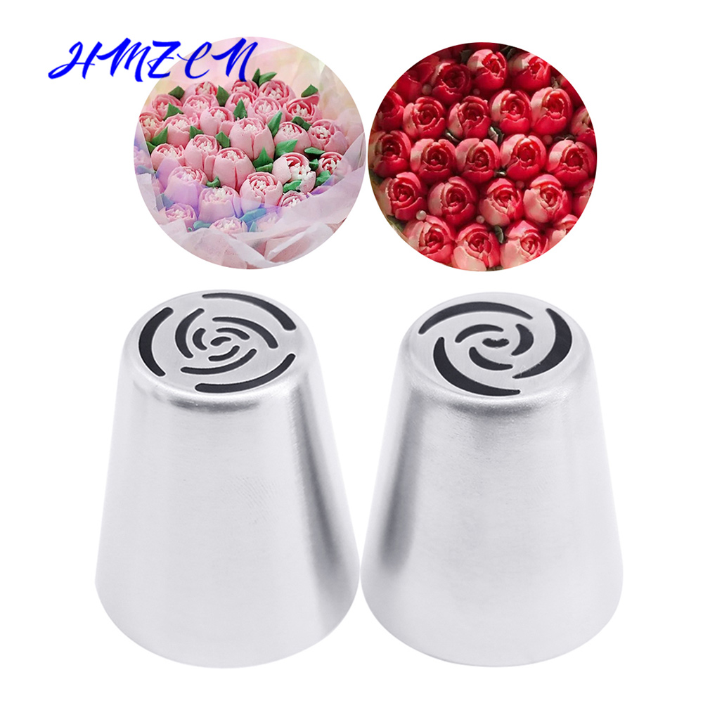 1/2PCS Flower Russian Tulip Icing Piping Nozzles Stainless Steel Cream Pastry Tips Nozzles Cupcake Cake Decorating Tools