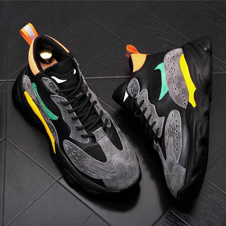 2020 erkek Vintage moda karışık renkler dantel-up ayakkabı İngiliz erkek trend günlük ayakkabı web ünlü zapatos hombre vestir