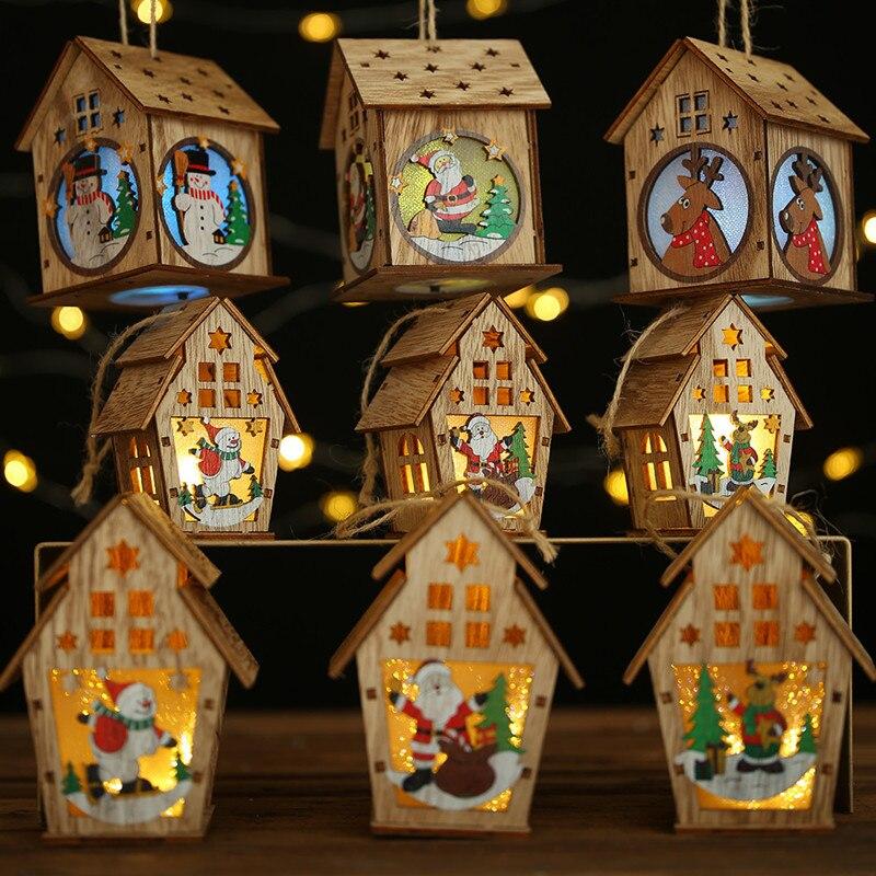 2020 Hot Levou Luz Casa de Papai Noel Árvore de Natal Enfeites de Decoração Para Casa de Madeira Presente De Natal para Férias de Casamento Navidad