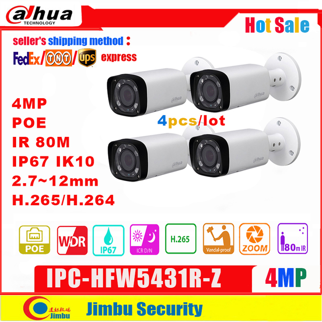 Dahua 4MP IP Camera POE IPC HFW5431R Z replace IPC HFW4431R Z 2.8 12mm 4pcs/lot Varifocal Motorized Len H.265 / H.264  IR80M