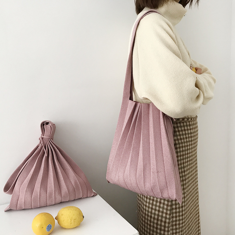 Women Handbag Wool Knitting Pleated Bags Drawstring Shopping Bags Girls Causal Weave Hand Bag Korean Japanese Chic Casual Totes