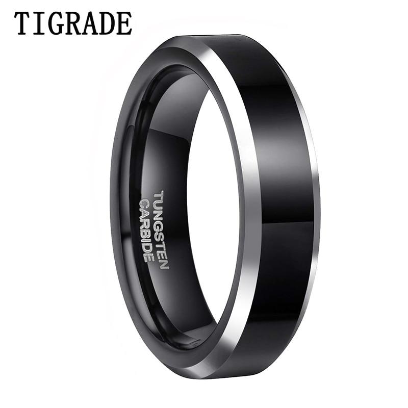 6Mm Tungsten black polished sliver Beveled ring Engagement Men Wedding Band Ring