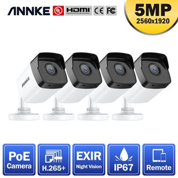 ANNKE 4PCS Ultra HD 5MP POE IP Camera Outdoor Weatherproof Security Network Bullet EXIR Night Vision Email Alert Camera CCTV Kit 1