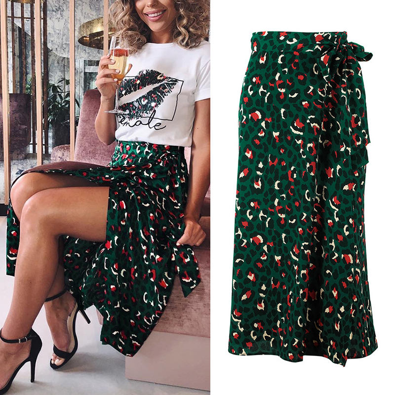Vintage Leopard Print Women High Waist Midi Skirt Bow Tie Size S/M/L/XL Long Comfortable 1PC Skirts Soft Elastic