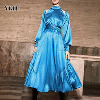VGH Элегантные выдалбливают платья женские Холтер с пышными рукавами туника с высокой талией Большие размеры Макси платье Женщины 2019 осень н...