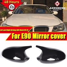 M3 Look Mirror Cover Cap Add on Style ABS Gloss Black For BMW E90 3 Series Sedan 1:1 Replacement 2 Pcs Side Mirror Cap 2005 2007