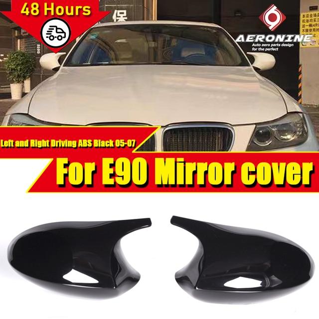 M3 Look Spiegel Abdeckung Kappe Hinzufügen auf Stil ABS Gloss Schwarz Für BMW E90 3 Serie Limousine 1:1 Ersatz 2 Pcs seite Spiegel Kappe 2005 2007