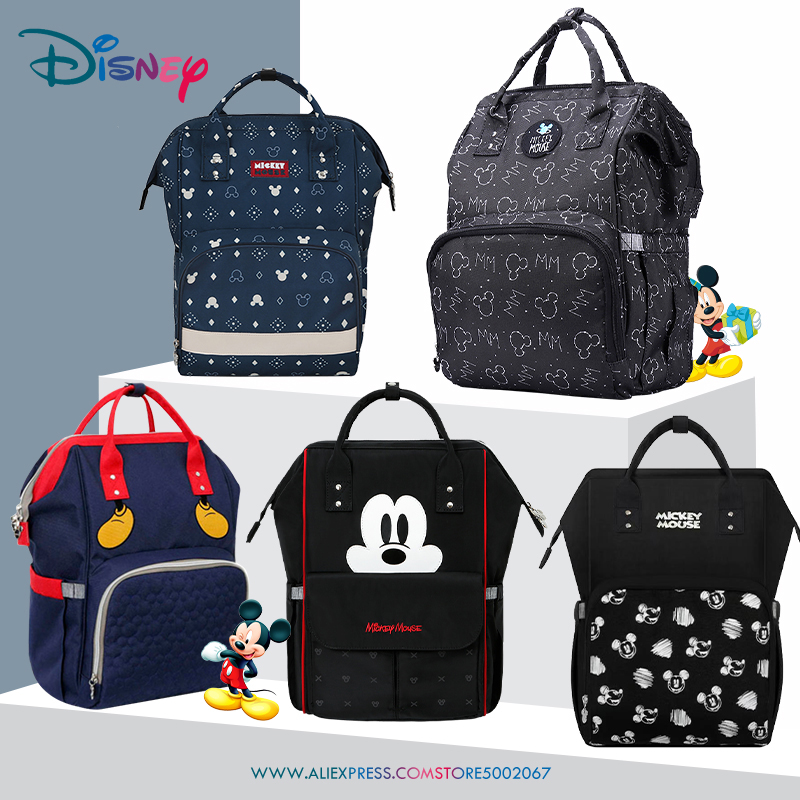 Disney Cute Diaper Bag Backpack Mommy Bag Maternity Bag For Stroller Baby Care Nappy Bag Large Capacity Waterproof Minnie Mickey