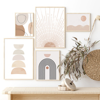 Pintura en lienzo de arcoíris para decoración del hogar, pósteres de imágenes artísticas de pared, geométrico abstracto, Beige, Estilo bohemio, Interior de la sala de estar