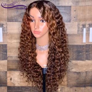 Image 2 - 13x6 парик с эффектом омбре, светлый парик на шнуровке спереди, бразильские кудрявые парики без повреждений, человеческие волосы с эффектом омбре, предварительно выщипанные отбеленные узлы, мечта, красота