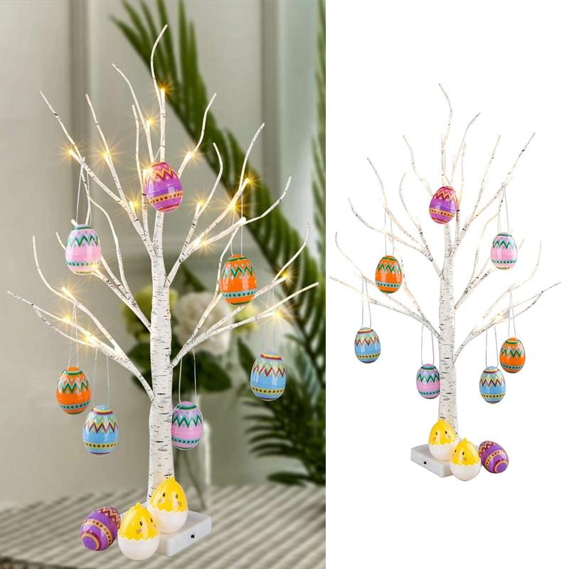 Счастливой Пасхи Декор светодиодный березы светильник дерево фотографический фон с пасхальными яйцами подвесное украшение дерево для пра...