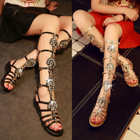 Women's Popular Rhinestone Summer Shoes Woman Open Toe Party Wedding Casual Knee Long Roman Sandals