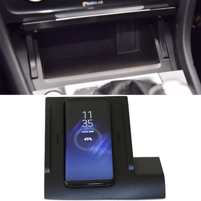 10W Car QI Wireless Charger Wireless Mobile Charger Fast Charging Plate Phone Holder  Accessories For VW Golf 7 MK7 For IPhone