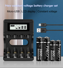 Palo Rechargeable Battery 1.5V AA 2800 mWh+1.5V AAA 900 mWh Li-ion Rechargeable Batteries + Battery Charger for Toys, Clock
