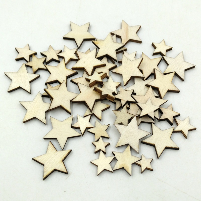 50pcs Romatic Style Wood Star Chipboard Fashion Wooden Home Decorations DIY Christmas Party Wedding Decoration Scrapbooking