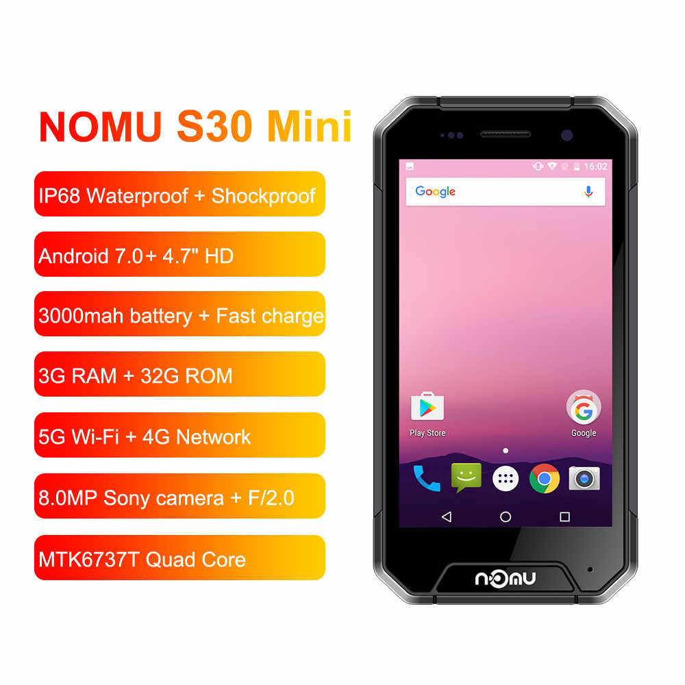 "NOMU S30 Mini SmartPhone 3GB RAM 32GB ROM 4.7"" 4G LTE Telephone MTK6737VWT Quad Core Android 7.0 8.0MP Waterproof Mobile Phone"