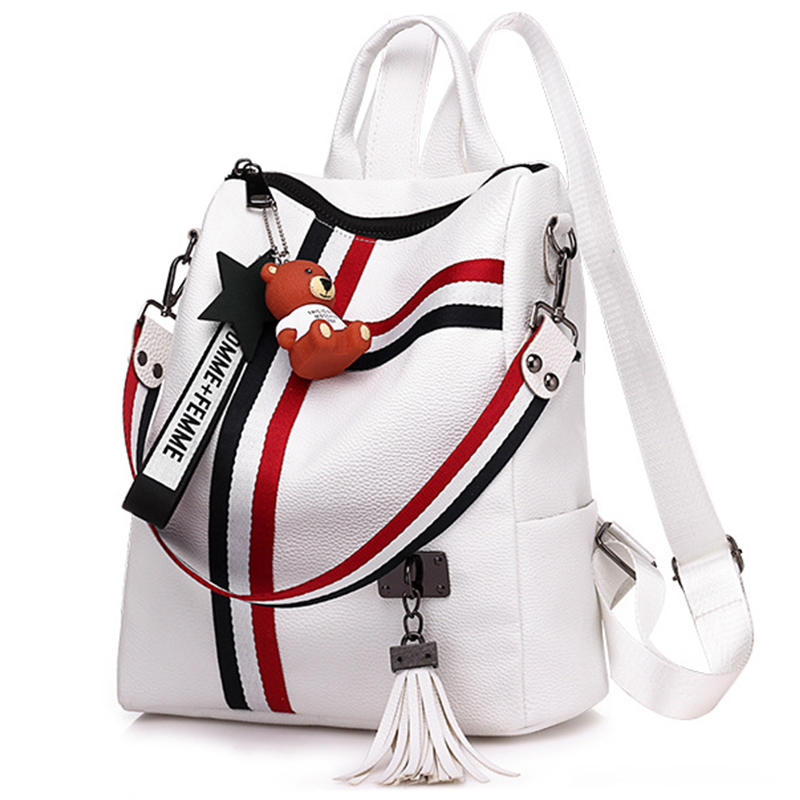 2019 Women New Retro Fashion Zipper Ladies Backpack PU Leather School Bag Shoulder Bag Teenagers Schoolbag Youth Bags For Female