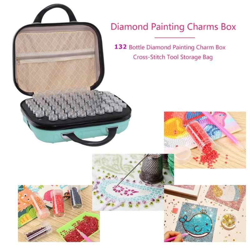 BTSKY Diamond Painting Storage Case with 132 Bottles,Hardshell Embroidery Storage Box Diamond Painting Storage Containers Rose red DIY 5D Craft Storage Case with Zipper