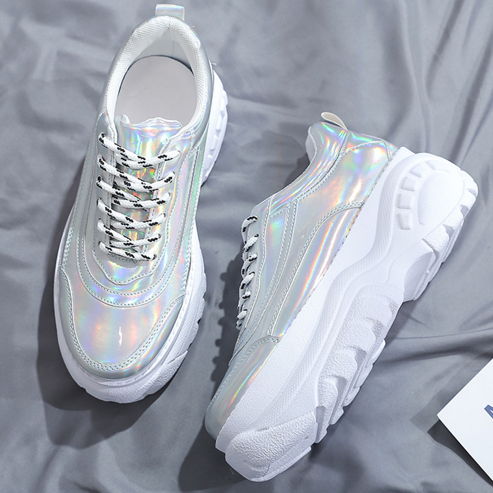 Woman High Platform Metallic Sneakers 8