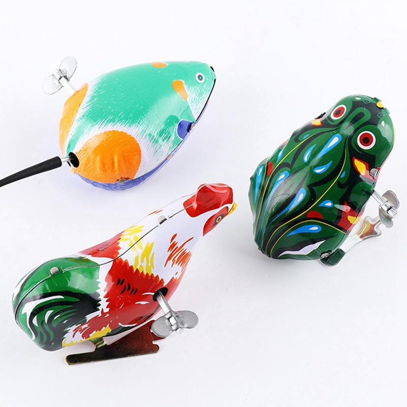Children's Classic Tin Clockwork Toy Jump Frog Old Hen Mouse Children's Classic Toys Boy Education Gift