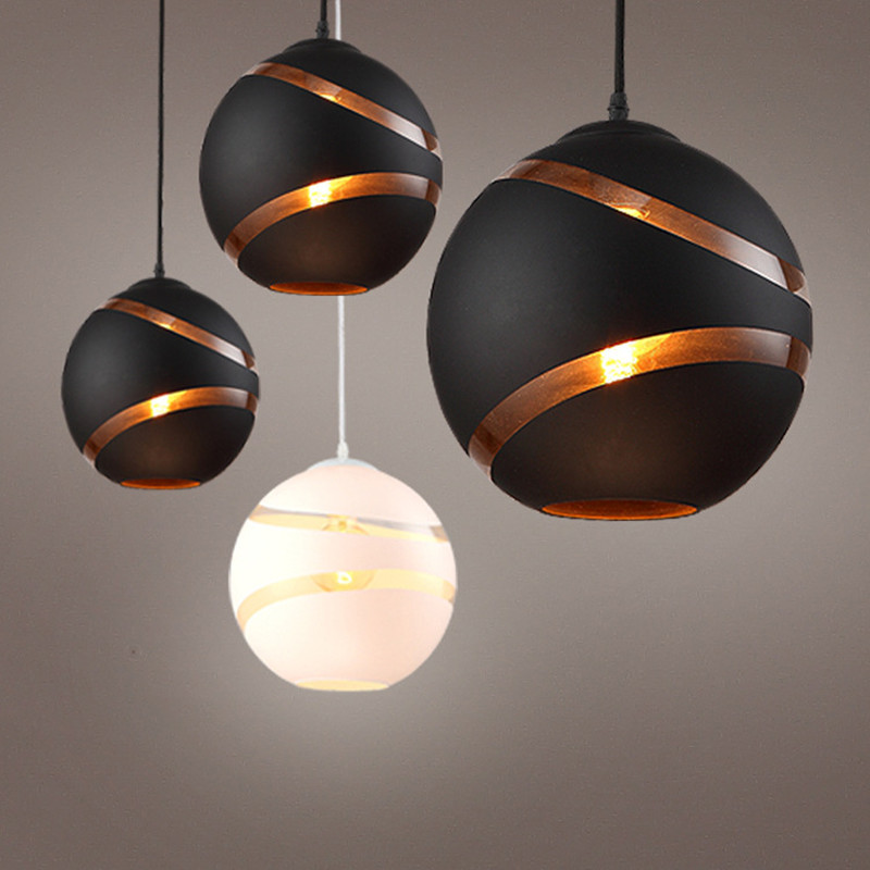 Nordic Personality Restaurant Chandelier Living Room Bedroom Cafe Bar Decoration Lamp Round Glass Single Head Lamp Free Shipping