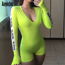 Auyiufar Sporty Active Wear Skinny Women Palysuit New 2019 Workout Casual Neon Letter Print Jumpsuits Solid Deep V Neck Rompers
