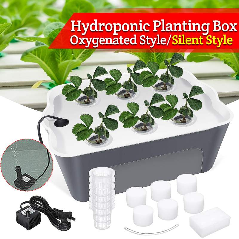 1 sets 220V Plant Site Hydroponic Systems 6 Holes nursery pots Soilless cultivation plant seedling Grow Kit