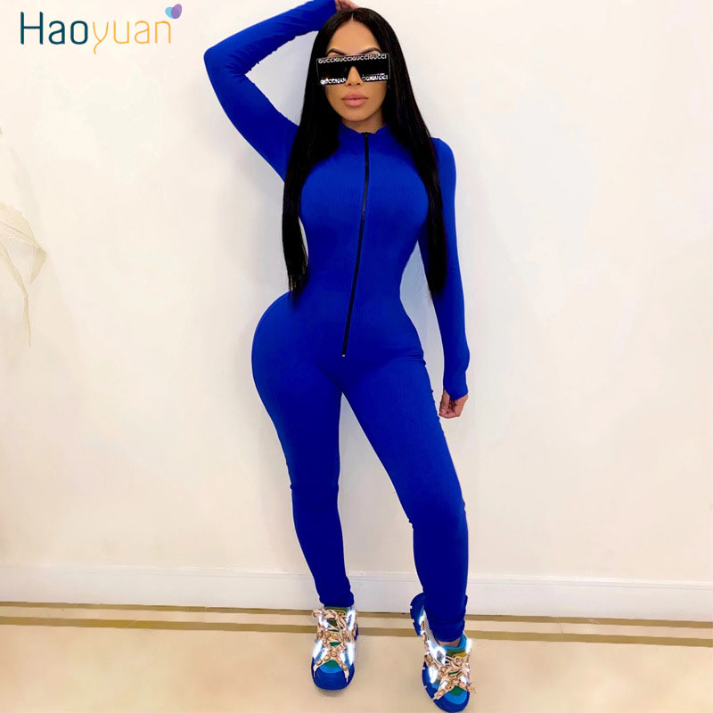 HAOYUAN Sexy Long Sleeve Rompers Womens Jumpsuit Tracksuits Zipper Up Fall Clothes One Piece Club Outfits Sport Bodycon Overalls