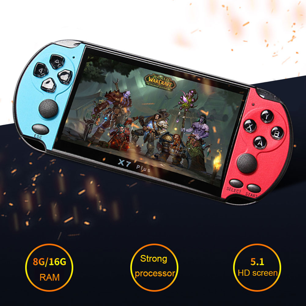 X7 Plus Music Rechargeable Double Rocker Handheld Portable Game Console HD MP5 Camera 8G Movies LCD Kids Video