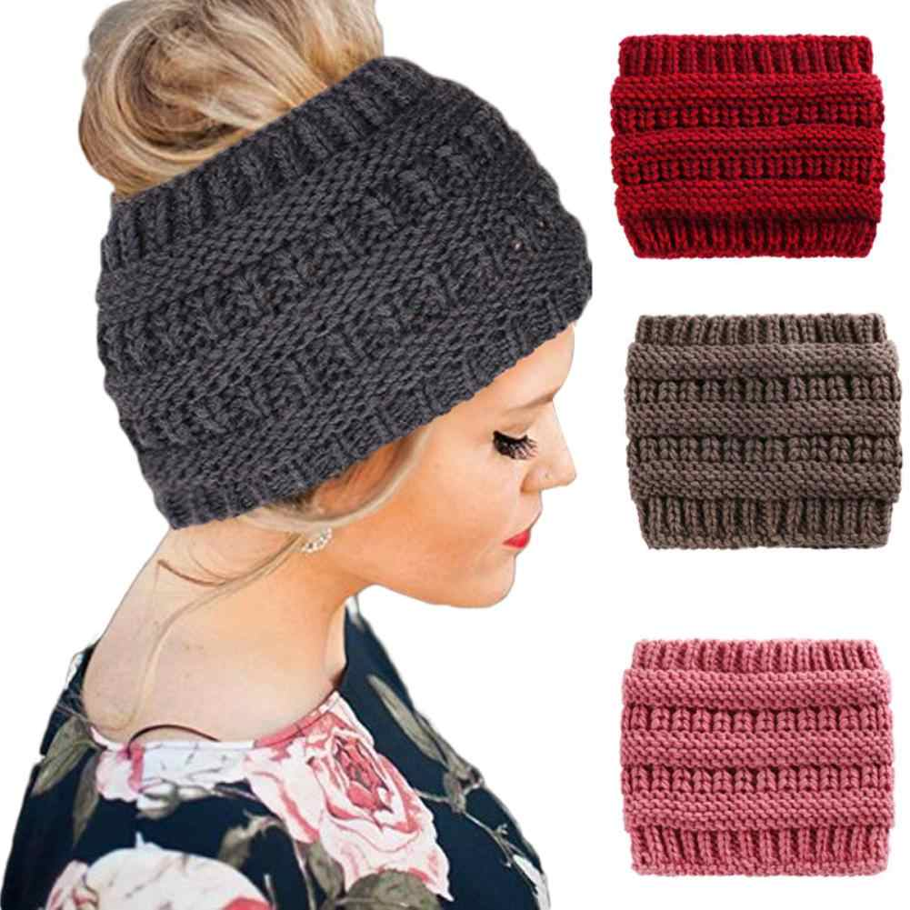 Warm Hat Women Winter Ponytail Hole Hair Cap Elastic Woolen Knitted Hat Headwrap Horsetail cap