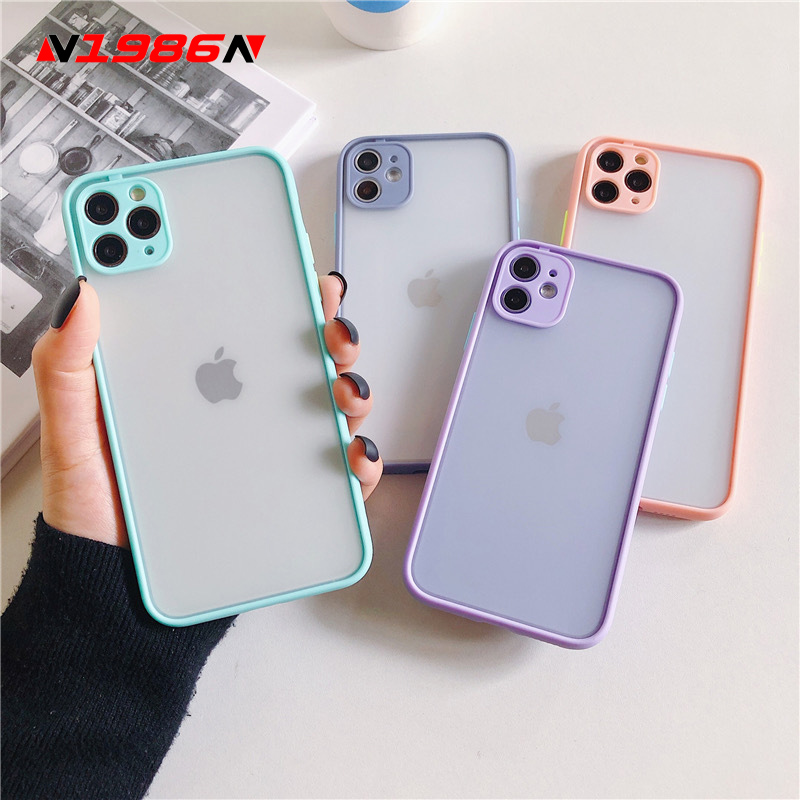 N1986N Candy Color For iPhone 11 Pro X XR XS Max 6 6s 7 8 Plus Phone Case Fashion Camera Protection Hard PC Case For iPhone 11