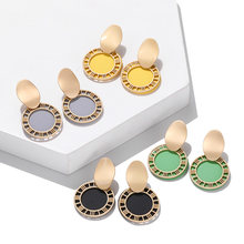 Chic Round Metal 2019 Women's Earring Gold Concise Black Yellow Enamel Dangle Earring Modern Design Jewelry Punk Style Brincos(China)