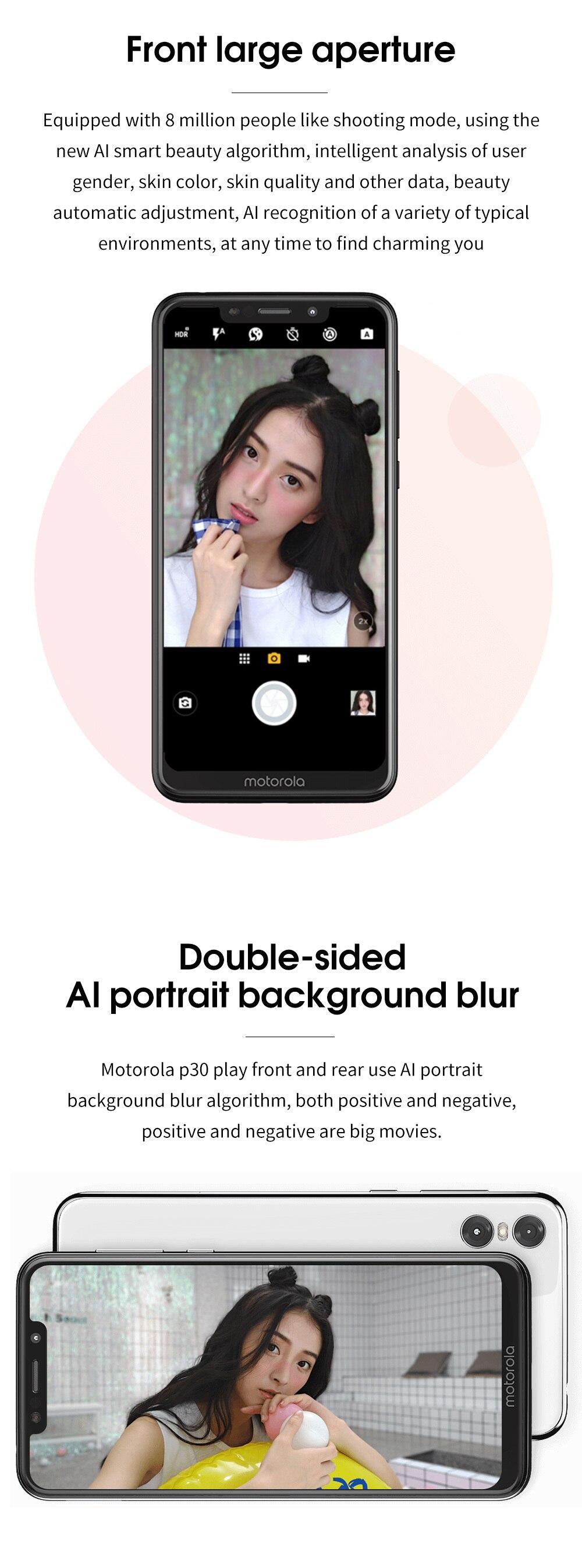 H94bc8e26e0c1460e984d7669787b4644m Moto One Mobile Phone 4GB 64GB AI Camera Smartphone 2.5D Double-sided Glass Body Octa Core Phone Support Face Fingerprint Unlock