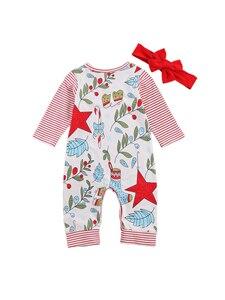 Boże narodzenie Baby Boy Girls Striped Romper noworodek renifer body jednoczęściowy kombinezon kwiatowy strój z pałąkiem na głowę