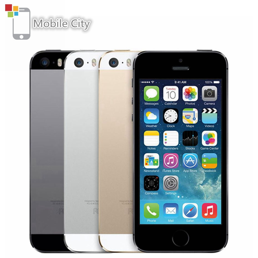 Original Unlocked Apple IPhone 5S IOS Smartphone 4.0'' 16GB/32GB/64GB ROM WiFi GPS 8MP Touch ID Fingerprint 4G LTE Mobile Phone