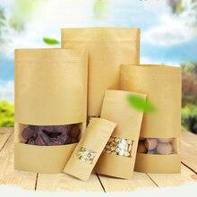 5 шт крафт-бумажный пакет с прозрачной крафт-бумага с окошком пакет с застёжкой канцелярские упаковочные конверты