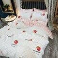 AB двустороннее постельное белье с клубникой  Комплект постельного белья для дома  простыня  пододеяльник  наволочка  3 шт.  4 шт.  большой разм...